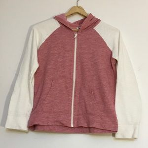 Old Navy girls pink & white size 14 zip up sweater